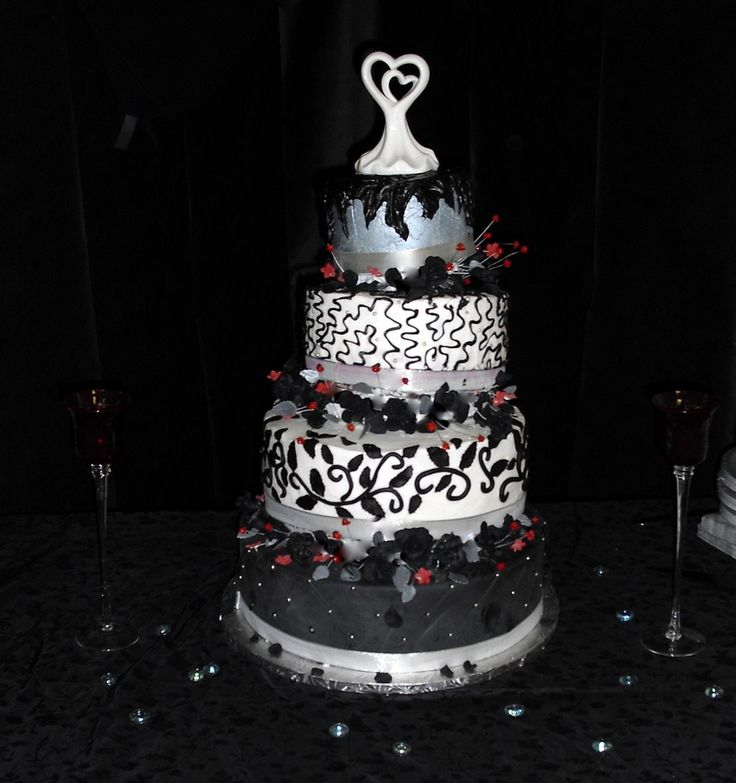 black silver and red wedding cake - Google Search