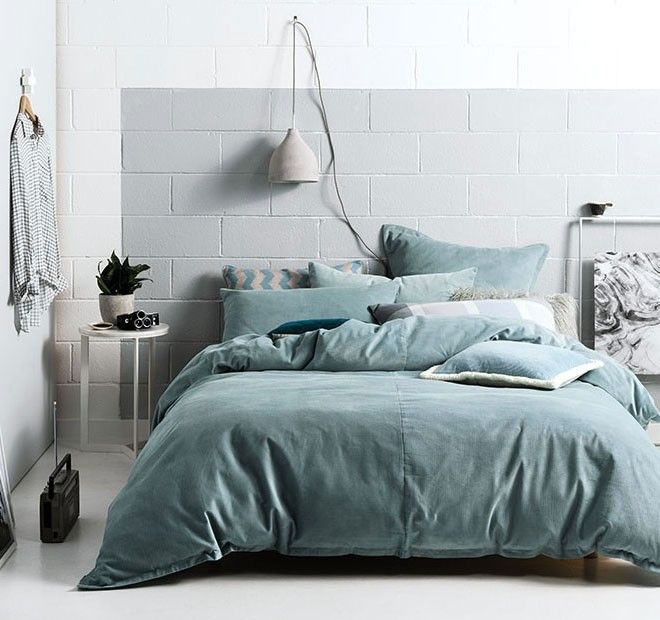 Willow Quilt Cover Set Range Stone Blue - New Arrivals | Manchester Warehouse