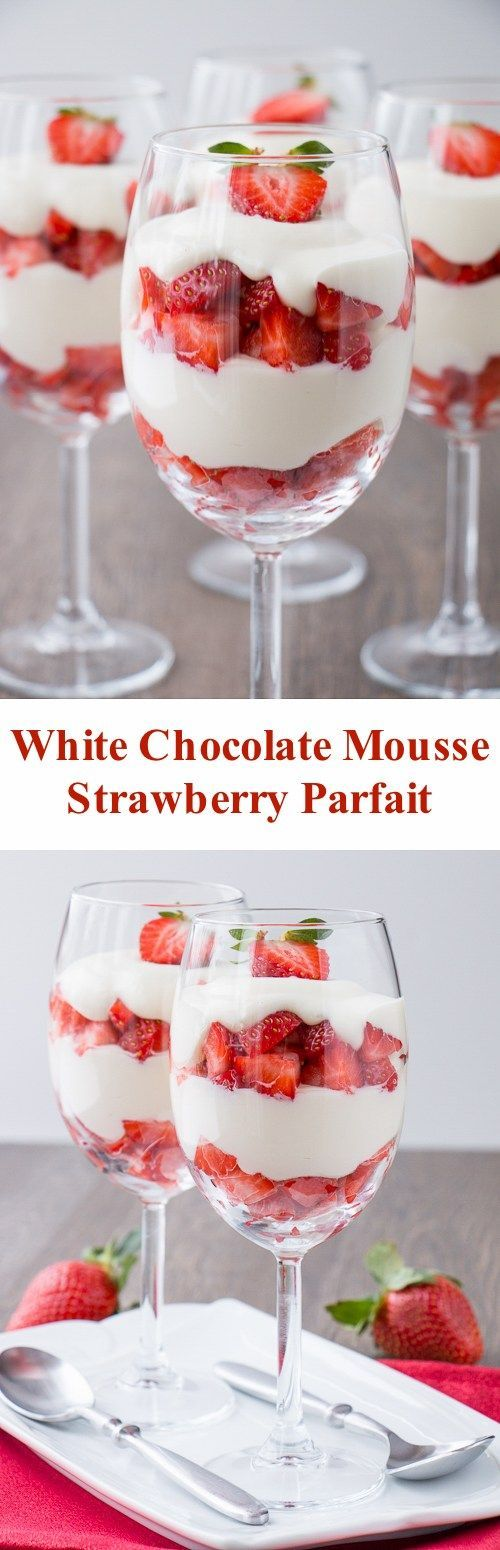 A velvety smooth white chocolate mousse paired with fresh ripe strawberries. Just 4 ingredients to make this simple and elegant dessert. #whitechocolatemousse #whitechocolatecream #strawberryparfait #valentinesdessert