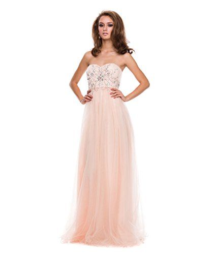 Nude Tulle  Beaded Corset Strapless Gown 2015 Prom Dresses -- You can find more details by visiting the image link.