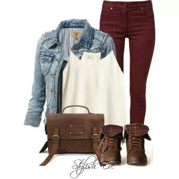 New HerStyle22 Lookbook How To Wear Burgundy Jeans 12 Outfit Ideas