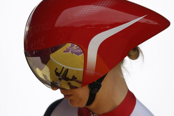 Britain's Emma Pooley waits to start in the women's cycling individual time trial at the London 2012 Olympic Games.