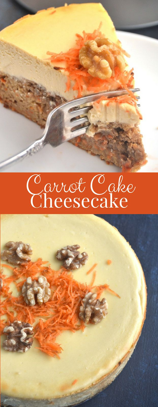 Carrot Cake Cheesecake features a whole-grain, dense carrot cake bottom and rich, creamy, Greek yogurt cheesecake combined in one for the perfect dessert! www.nutritionistreviews.com #cheesecake #cake #dessert #healthier #easter #spring