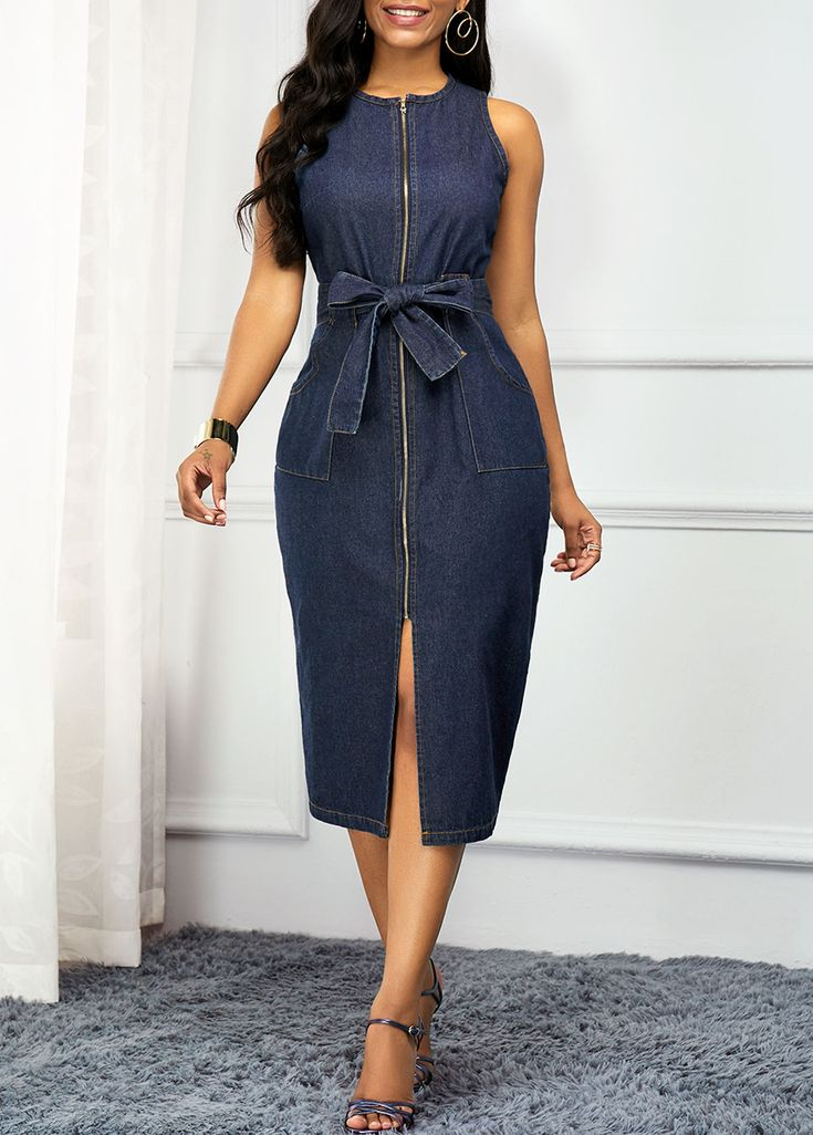 Sleeveless Belted Zipper Front Denim Dress | Rosewe.com - USD $37.17 | Stuff to Buy in 2019 | Dresses, Spandex dress, Denim outfit