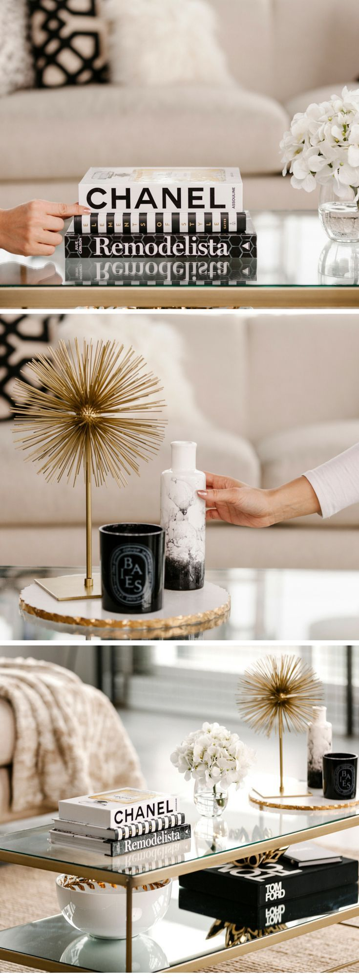 Black, gold and white elements styled perfectly to create an elegant coffee table arrangement.