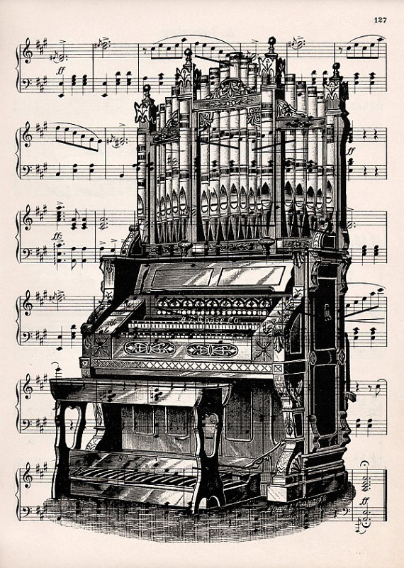 Organ print on vintage music
