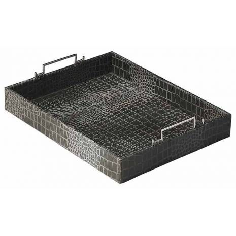 Modern Rectangular Textured Black Leather Serving Tray with Raised Metal Handles  Modern Rectangular Textured Black Leather Serving Tray with Raised Metal Handles This modern serving tray is certain to be the finishing touch in your space. Featuring leather Finish, it is hand crafted from mdf, leather. Collection: Hors Doeuvres Material: Mdf, Leather Style: Modern