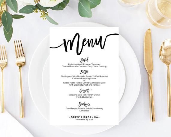 64 best Wedding Menus images on Pinterest Adobe acrobat, Bar menu