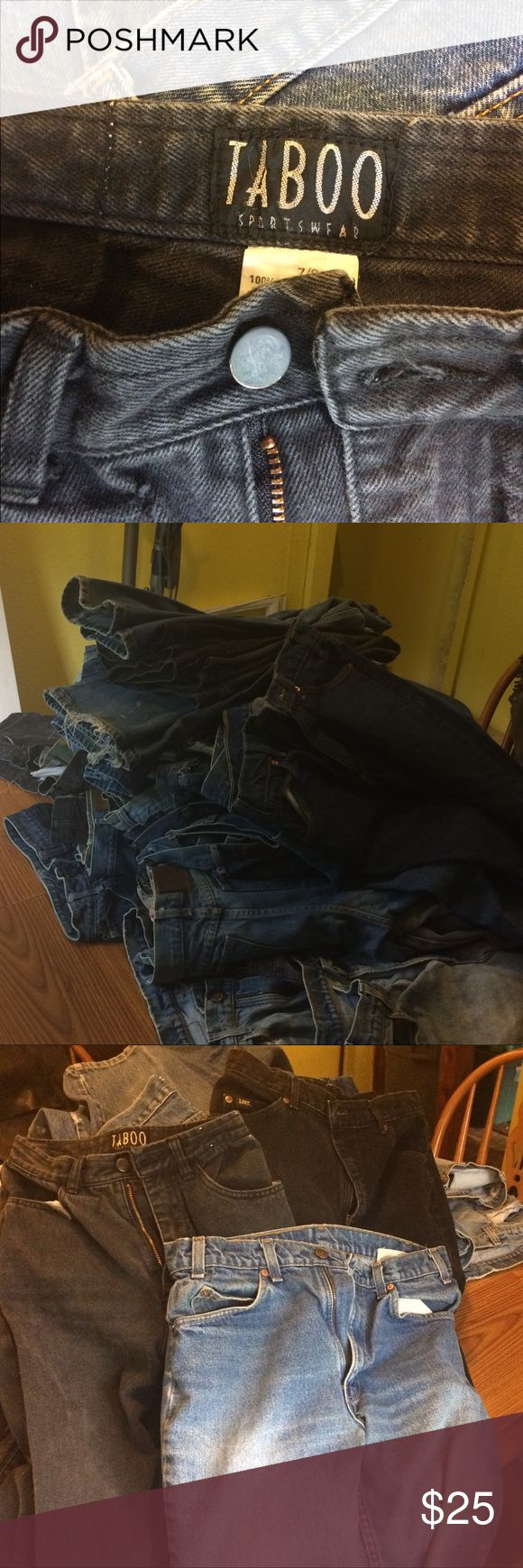 50+ pair of vintage designer jeans All in great shape      Vanderbilt  Taboo Levi's Lee Palmetto Brooks Britani Helium  And many more    Sizes 6 thru 14  buy them all and get a hell of a deal!!    Dealers welcomed !! Washed and ready to wear! Jeans