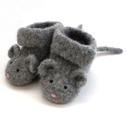 Knitting Pattern Felted Baby Booties : 42 best Novelty Slippers images on Pinterest