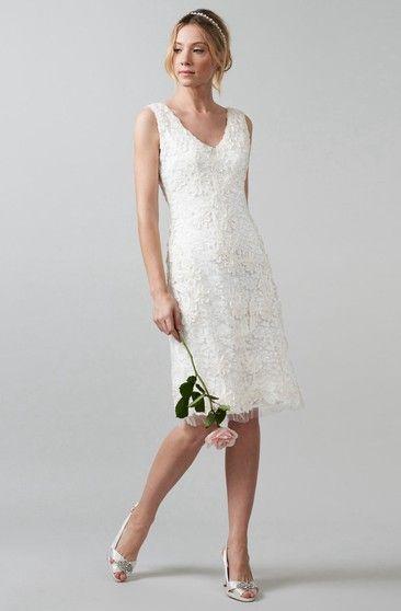 96a934d10898 Tea-Length A-Line Cap Sleeve Square Neck Ribboned Lace Wedding Dress - Dorris  Wedding