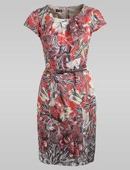 Geraffineerde jurk met zachte gedempte herfstkleuren combineer met diep koraal jasje ...prachtige combi voor een eerste date