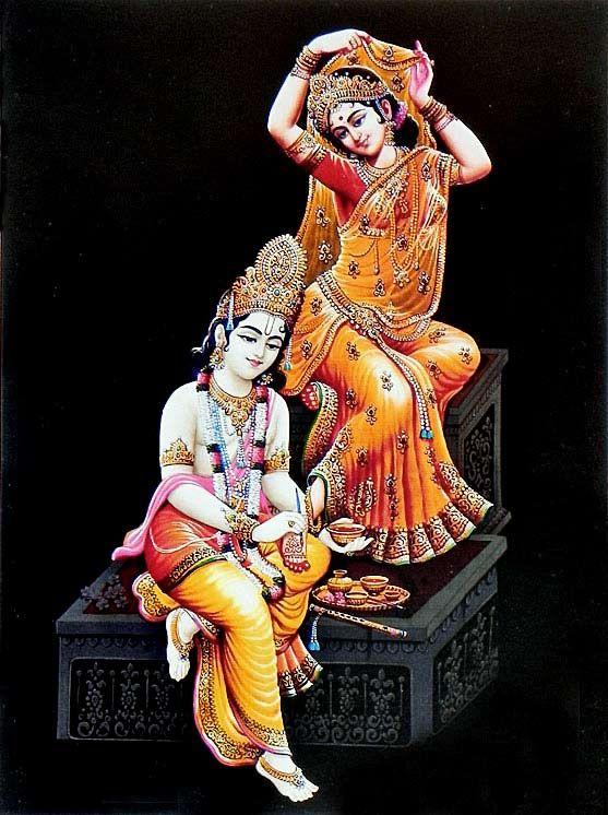 Krishna massaging Radha's lotus feet. Krishna is always looking for ways to serve His devotees. This service mood is the doorway to the spiritual world.