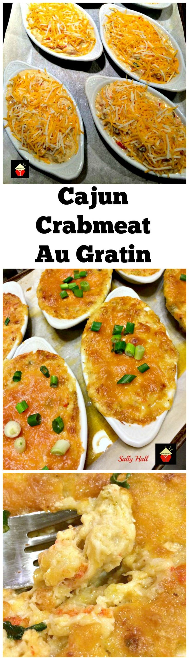 Cajun Crabmeat Au Gratin. A truly delicious recipe full of fantastic flavors. Options to add shrimp or crawfish too! Delicious served as an appetizer or main meal. | Lovefoodies.com