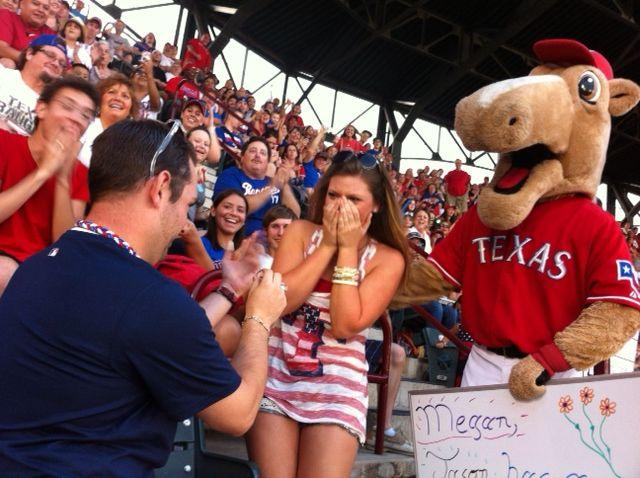 Texas Rangers Proposal on the Jumbotron!