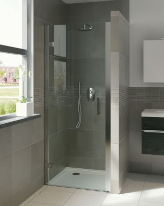 Bruynzeel Module draaideur in nis // douche douchecabine badkamer sanitair // bathroom shower hinge door // salle de bain porte pivotante