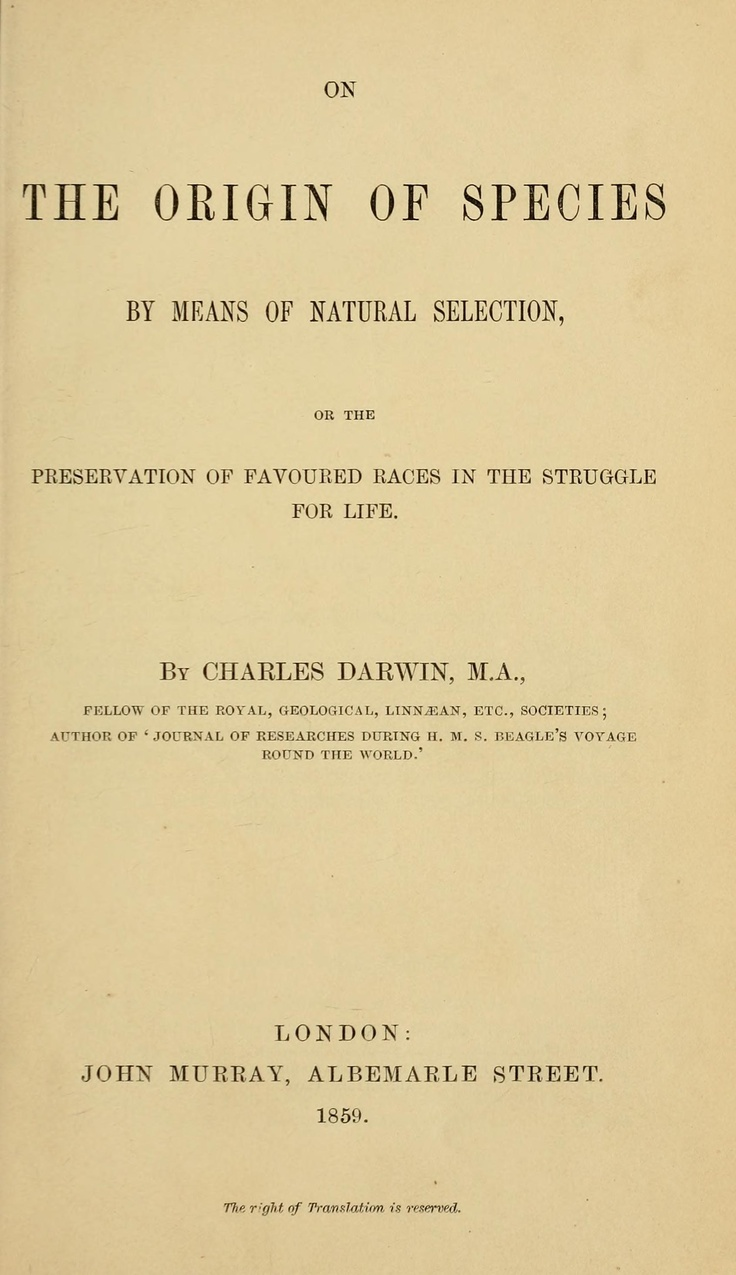 On the Origin of Species – Natural Selection by Charles Darwin