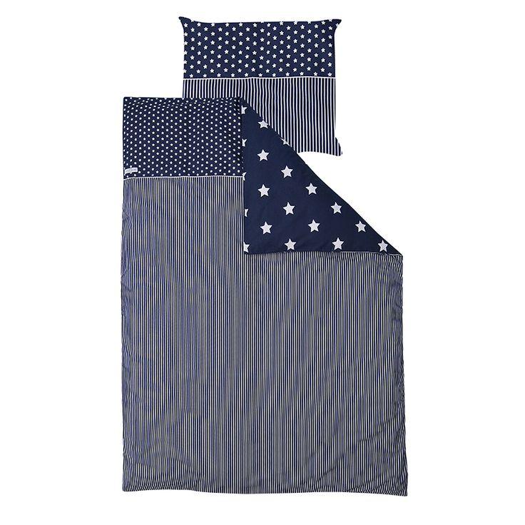 Bettwaesche-blau-mit-weissen-Sternen-140x200-cm-80x80-cm