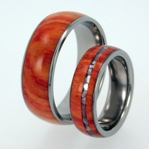 Titanium Ring with Tulip Wood and Mother of Pearl Inlay - jer1-031. $376.00, via Etsy.