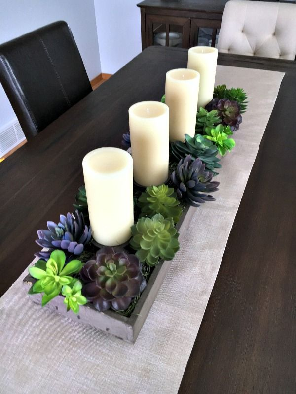 spring succulent garden idea -planter with candles                              …