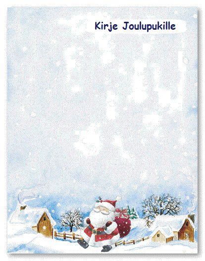 Kirje joulupukille - tulostettavia kirjepohjia