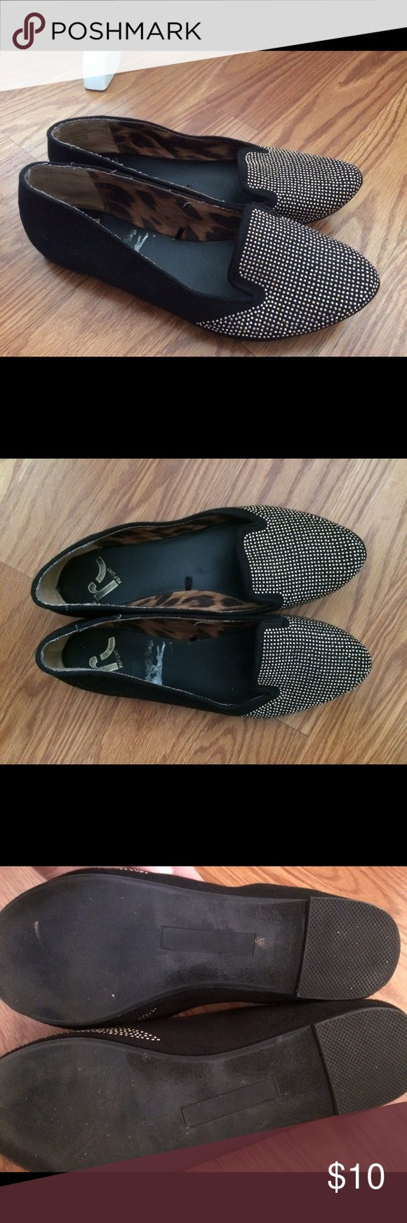 Black Gold Studded Loafers Worn twice, fits narrow feet Report Shoes Flats & Loafers