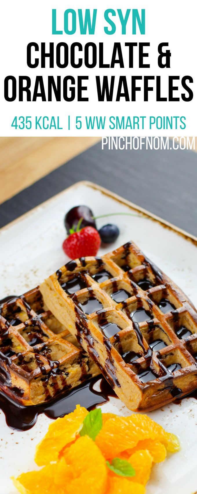 Low Syn Chocolate & Orange Waffles | Pinch Of Nom Slimming World Recipes    435 kcal | 1 Syn | 5 Weight Watchers Smart Points