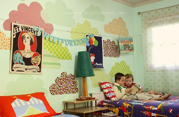 a lovely lark: Lovely Little Room: Boys' Shared Space.  love the idea of patterned fabric clouds on wall for kids room
