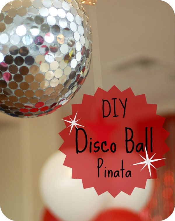disco ball pinata (instead of this i think i'll spray paint some styrofoam balls silver and glue the sequin things to make decorations and i'll make a guitar pinata)