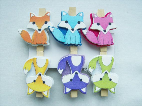 6 Fox wooden peg ornaments -  fox decorations  by SparkleandComfort
