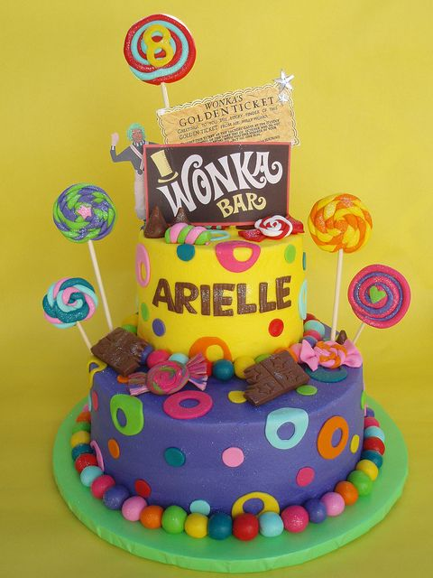 Willy Wonka and the Golden Ticket Themed Birthday Cake