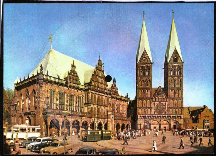 Vintage musical 45 rpm record postcard Germany BREMEN Ratchaus St.Petri-Dom