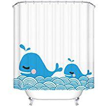TFgirl Poliester de dibujos animados de la natacion de la ballena impresa cortina del bano cortina impermeable de la particion
