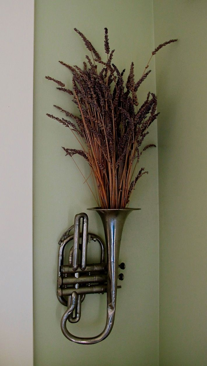 Vintage trumpet filled with aromatic lavender - not sure about the lavender, but the trumpet would be cool in the office.