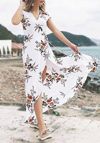 338af876b2 White Flowers Print Slit Sashes V-neck Short Sleeve Maxi Dress in ...