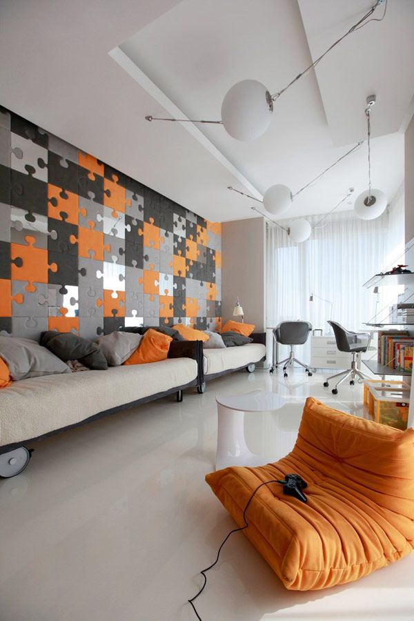 Apartment: Glass Shelves White Ceramics Flooring Orange Beanbag Office Chair Beige Comfy Sofa Contras Colour Wall Orange Grey Cushion: Amazing Modern Apartment With Grey And Orange Colors