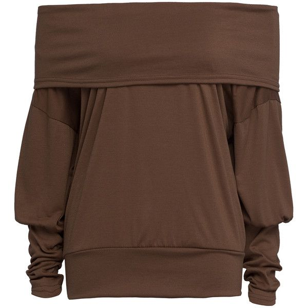 Brown Off Shoulder Batwing Sleeve T-shirt featuring polyvore, women's fashion, clothing, tops, t-shirts, bat sleeve tops, off the shoulder tee, off shoulder tops, cotton t shirts and off the shoulder t shirt