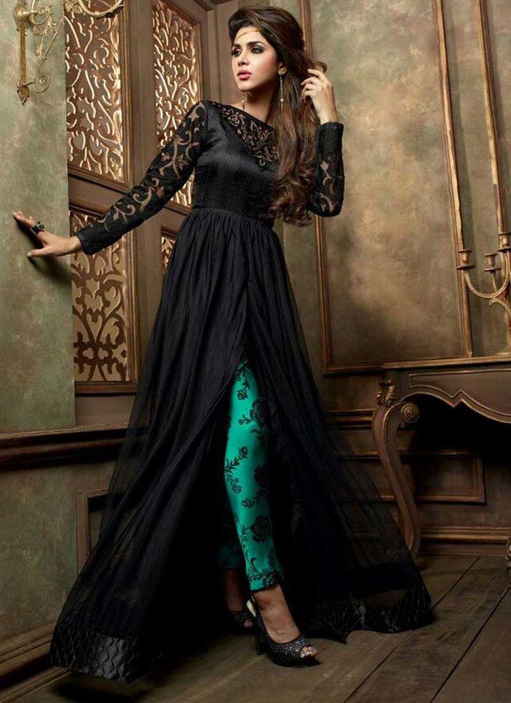 Genius Black Silk Georgette Designer Anarkali Suit