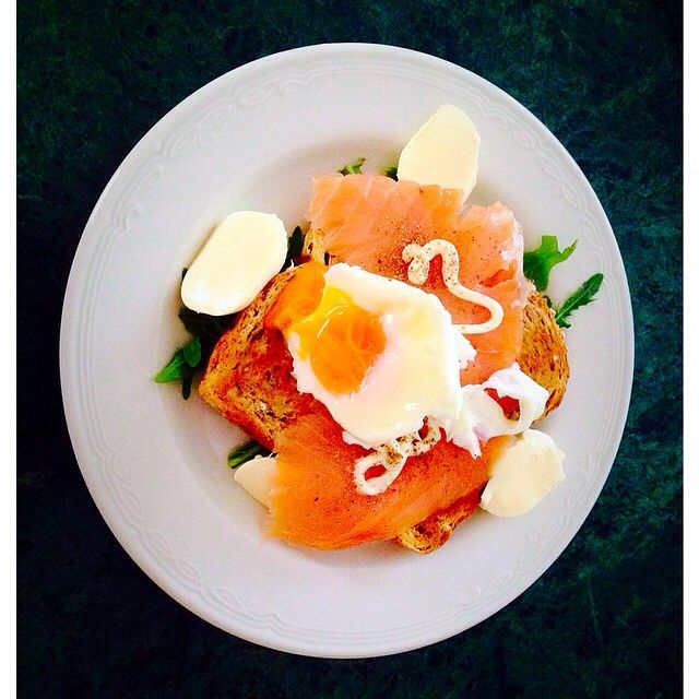 My brunch: poached eggs, toast, arugula, smoked salmon, and Mozarella cheese with aioli.