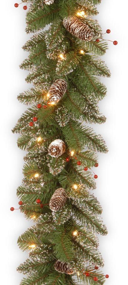 Christmas Glittery Mountain Spruce Artificial Green Garland with 50 Clear Lights #ChristmasGarland #Glittery #Green #MountainSpruce #Artificial #Artificial #ClearLights #Wreaths #Christmas #ChristmasDecor #Seasonal #HomeDecor #HolidayDecor