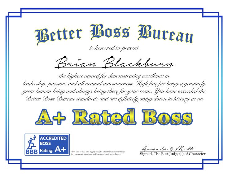 Humorous songwriting awards for a boss