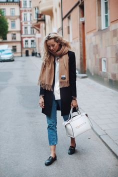 Blogger Style | Anouk Yve: camel Acne Canada scarf x black coat x blue denim jeans x Gucci loafers