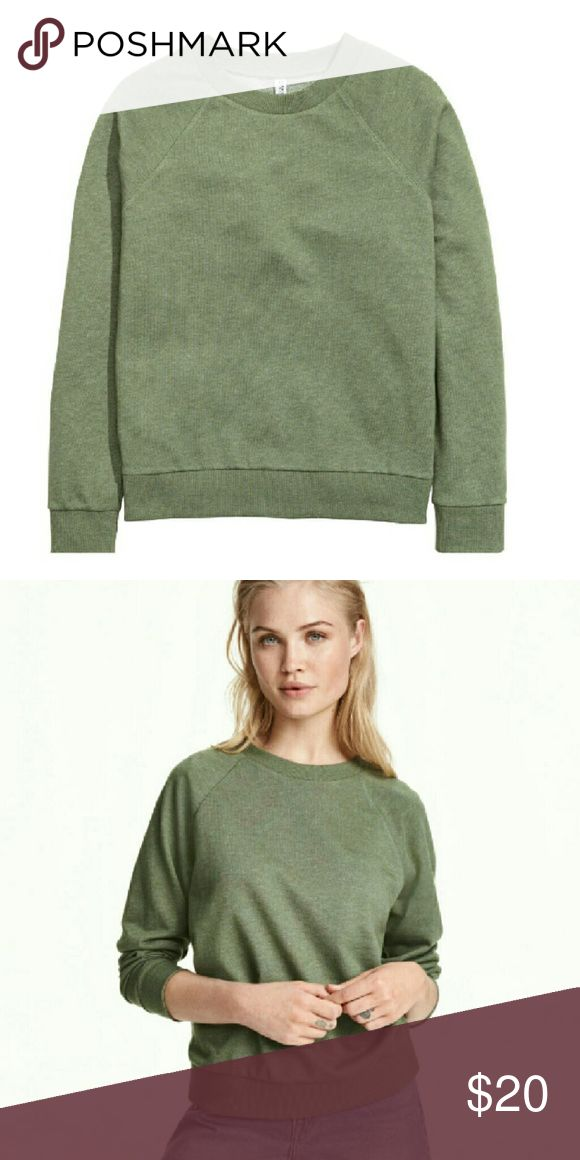 """Olive Green Sweatshirt Soft and comfy olive green sweatshirt. Lightweight poly/cotton/elastane blend. Great stretch!  Size: Large Measurements: Bust: 23""""  Hip: 20""""   Length: 23""""   Sleeve: 23""""  NO Trade / NO Paypal Tops Sweatshirts & Hoodies"""