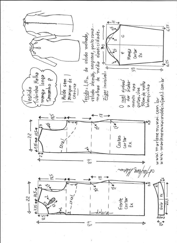 Esquema de modelagem de vestido tubinho malha manga longa tamanho P.