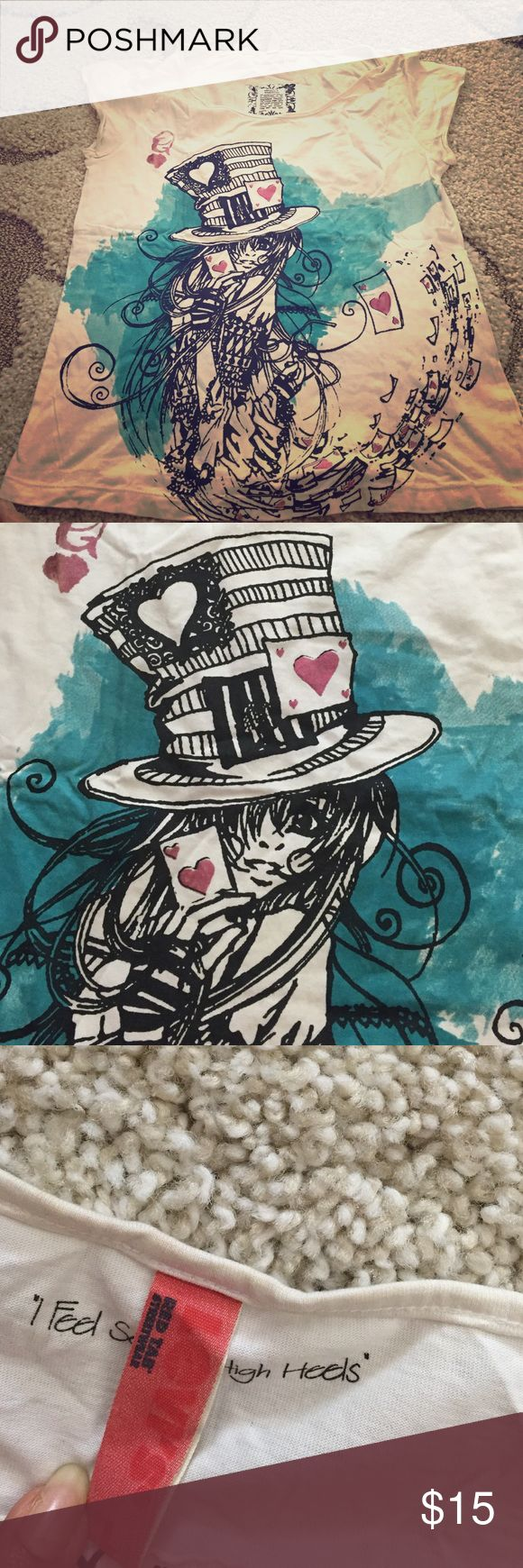 Alice in wonderland tee shirt White tee with blue and pink design. Cool Levis tee perfect for summers Levi's Tops Tees - Short Sleeve