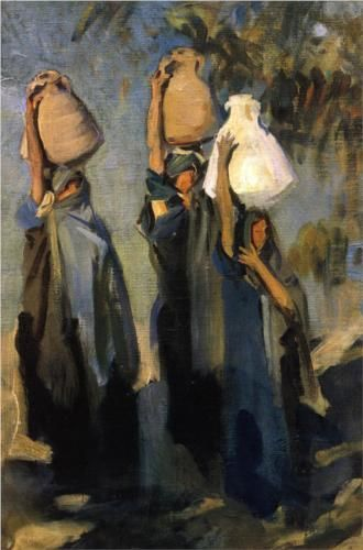 I really like this....Bedouin Women Carrying Water Jars - John Singer Sargent
