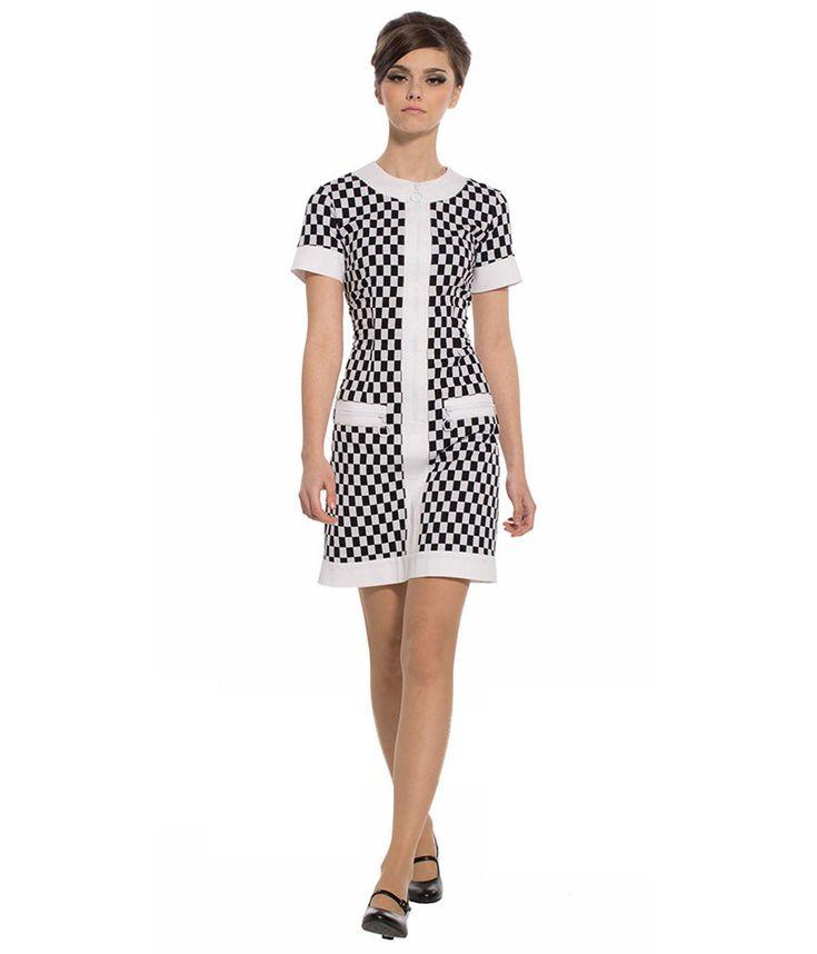 MARMALADE Retro 60s Mod Zip Front Checker Dress with Pockets