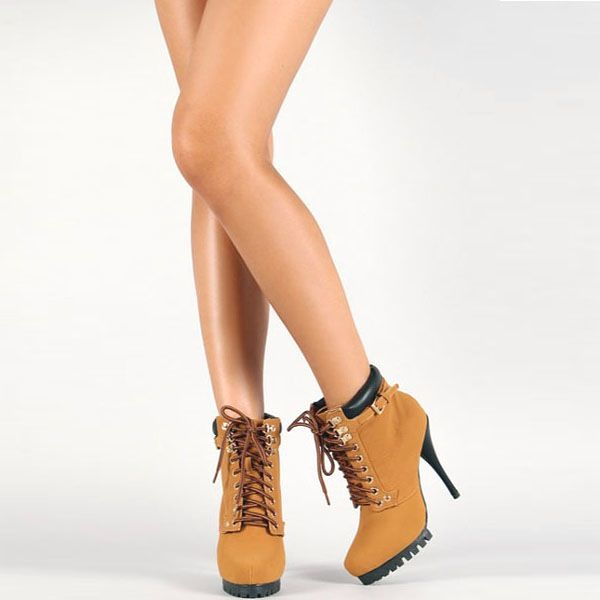 Women Timberland High Heel Boots | Timberland High Heel Lace Up Pointy Ankle Booties