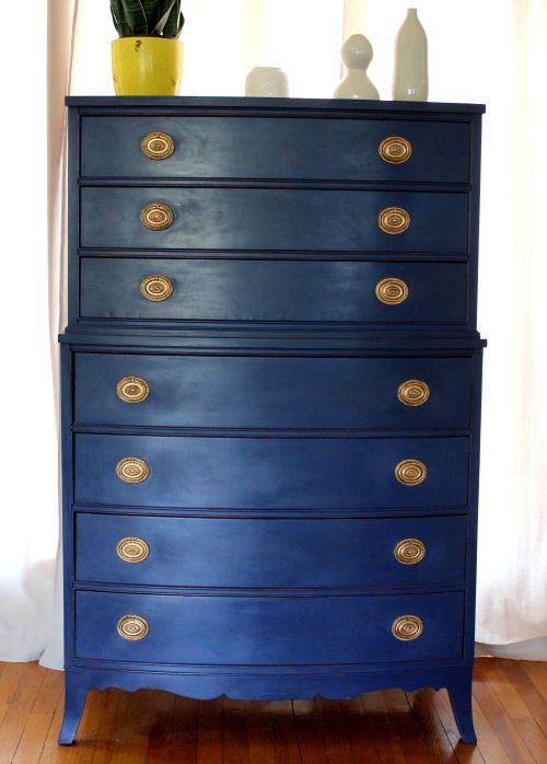 Perfect Vintage Tallboy Dresser In Annie Sloan Napoleonic Blue Chalk Paint