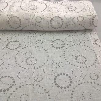 Tessuto per tendini a vetro con fantasia geometrica a pois grigi! #tessuti #tende #arredamento moderno #stocktex